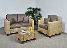 Wicker Conservatory 2 Seat Medium Sofa Set - Sofa,