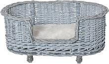 Wicker Dog Bed Basket Pet Sofa Lounge Furniture w/