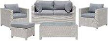 Wicker Faux Rattan 5pc Garden Sofa Set 2 Seater