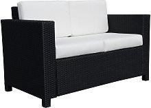 Wicker Garden 2-Seater Double Couch Loveseat Black