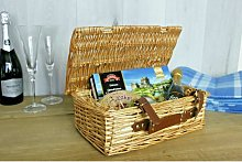 Wicker Hamper Basket With Leather Handle