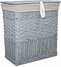 Wicker Laundry Basket Two Sides Compartments With