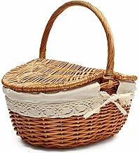 Wicker Picnic Storage Basket Natural Willow