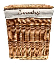 Wicker Rectangle Laundry basket With Cotton Lining