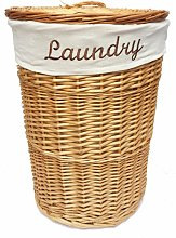 Wicker Round Laundry Basket With Lining [Honey