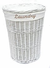 Wicker Round Laundry Basket With Lining [White