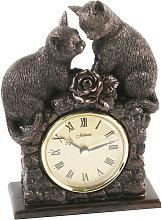 Widdop - Bronze Finish Mantel Clock - 2 Cats