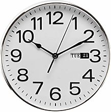 Widdop William Day/Date Wall Clock - Silver