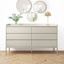 Wide 6 Drawer Chest of Drawers in Taupe - Zion
