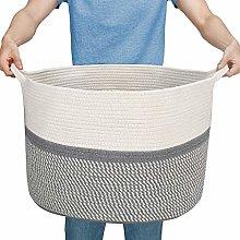 Widousy Large Cotton Rope Basket, Blanket Storage