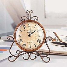 Wifehelper Mini Non-Ticking Vintage Clock Iron Art