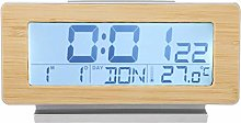 Wifehelper Wood Grain Shell 12/24H Digital Alarm