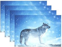WIHVE Placemats Wipeable Dining Animal Wolf Snow