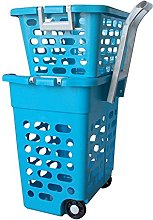 Wilai Laundry basket on wheels blue with handle,