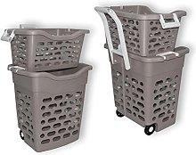 Wilai Laundry basket on wheels Grey with handle,