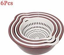 WILAIN 6pc/Set Double-layer Plastic Drain Basket