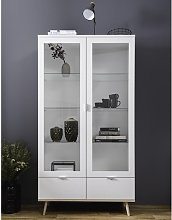 Wilcox Display Cabinet In White And Sonoma Oak