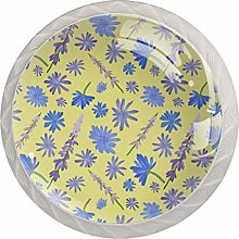 Wildflowers Pattern Glass Cabinet Knobs Knobs for