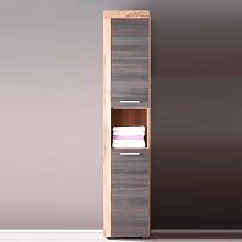 Wildon Tall Bathroom Cabinet In Walnut And Touch