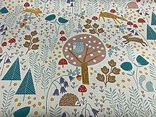 Wildwood Hedgehog & Hare Teal/Orange Cotton
