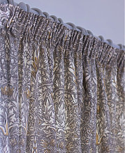 William Morris Snakeshead Pewter Lined Curtain