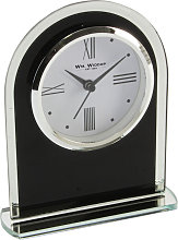 WILLIAM WIDDOP Black Glass Arched Mantel Clock