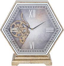 WILLIAM WIDDOP Hexagonal Mantel Clock with Moving