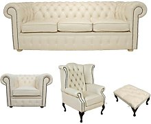 Williamsville Chesterfield 4 Piece Leather Sofa