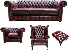 Williamsville Chesterfield 4 Piece Leather Sofa