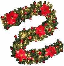 willkey 9ft Pre-Lit Christmas Garland Illuminated