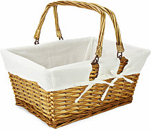Willow Storage Basket with Cotton Lining Brown |