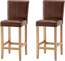 Wilton Brown Leather Bar Stool In Pair With Oak Leg