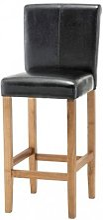Wilton Leather Bar Stool In Black With Oak Leg