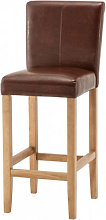Wilton Leather Bar Stool In Brown With Oak Leg