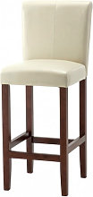 Wilton Leather Bar Stool In Ivory With Dark Leg
