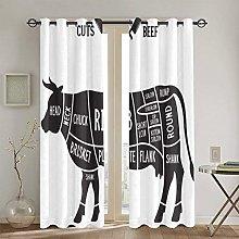 WINCAN Blackout Curtains 2 Panels Set,Loin Cow
