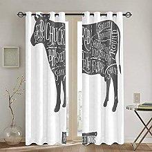WINCAN Blackout Curtains 2 Panels Set,Loin Farm