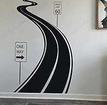 Winding Road Highway Speed Limit Sign Tire Tracks