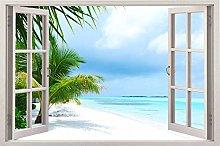 Window 3D Sea View Summer Decal Wallpaper Sun Kid