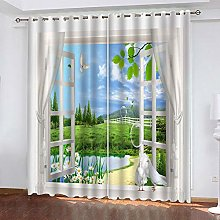Window Curtains Meadow White Dove Eyelet Blackout