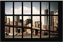 Window with View of Brooklyn Bridge Semi-Gloss