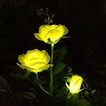 Windpnn Solar Flower Garden Lights, Yellow Rose