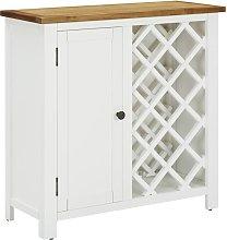 Wine Cabinet 80x32x80 cm Solid Oak Wood - White -