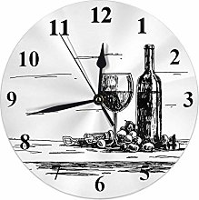 Wine Clock Vintage Sketch of Wine Glass Bottle