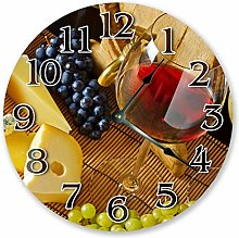 Wine Clock with Fruit Grapes Silent Non Ticking