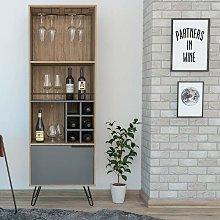 Wine Rack Drinks Storage Cupboard 1 Door 3 Shelves
