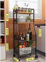 Wine Trolleys Metal Kitchen Trolley 4-layer Shelf