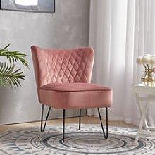 Wing Back Armchair Velvet Upholstered Hairpin Legs
