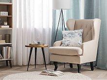 Wingback Chair Beige Velvet Upholstery Black Legs