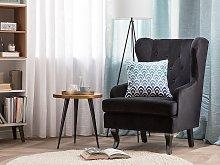 Wingback Chair Black Velvet Upholstery Black Legs